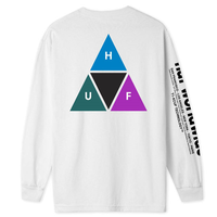 HUF PRISM TRIPLE TRIANGLE L/S TEE ハフ ロンティー メンズ  ロンT 長袖Tシャツ / HUF170 WHITE
