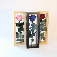 エルビエガラスフレームプリザーブドフラワー1輪薔薇