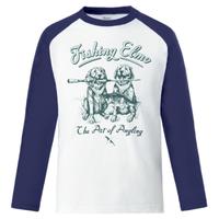 【Fishing Elmoオリジナル「The Art of Angling」5.6オンス  ラグラン長袖Tシャツ】ホワイト ネイビー Mサイズ