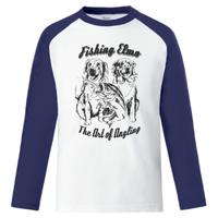 【Fishing Elmoオリジナル「The Art of Angling」5.6オンス  ラグラン長袖Tシャツ】ホワイト ネイビー  クロアチア人デザイナー  Lサイズ