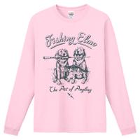 【Fishing Elmoオリジナル「The Art of Angling」6.6オンス  ハイグレード長袖Tシャツ】ライトピンク Lサイズ