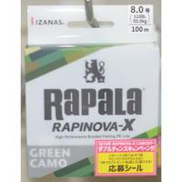 最新作PEライン!【RAPALA  RAPINPVA-X  ラピノヴァX RLX100M80GC】8号 110Lb  100m巻 グリーンカモカラー