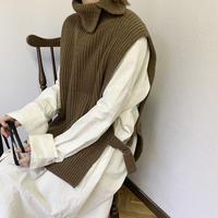 neck slit knit best (3color)[OU20AW216]