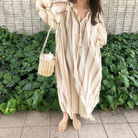 stripe skipper shirt one-piece