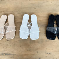 clear belt flat shoes (3color)