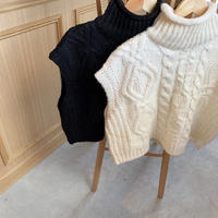 cable short knit best (2color)[TOP20AW572]