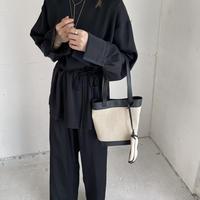 belt set simple blouse (2color) ◇setup可[TOP21SS620]
