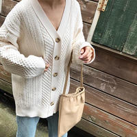 cableknit long cardigan