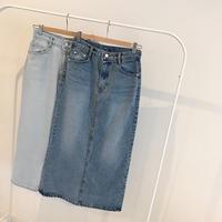 tight denim long skirt (2color)