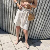 linen high-waist  short pants