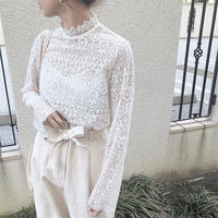 high neck lace blouse [TOP18AW-0020]