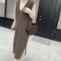 v neck knit vest one-piece[OP20AW577]