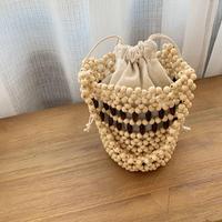 wood beads hand bag