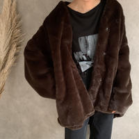vintage like eco fur cocoon  coat (3color)  [OU19AW0117]