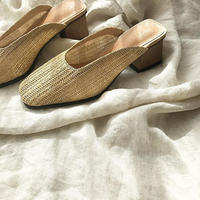 wood heel rattan shoes
