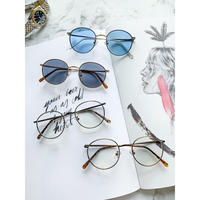【4color】classic round metal sunglasses