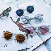 【4color】classic round clear sunglasses