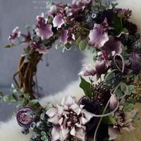 『 Winter elegant door wreathe 』 …Made with artificial flowers