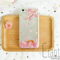 桜満開 押し花スマホケース