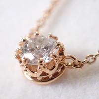 K18 0.2ct.diamond necklace #crown