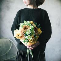 ガーベラとクリスマスローズの花束《イエロー×グリーン》|造花の花束# 03