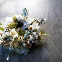 ホワイトのミニリース【14cm】white mini wreath
