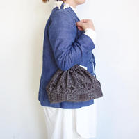 Suno&Morrison Silk cotton printed drawstring bag L