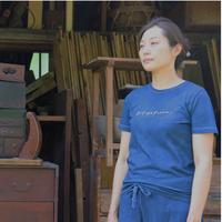 Women's藍染めオーガニックコットンTシャツ(DIY the future!)