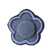 FT04080305 / EMBROIDERY BOUTONNIERE COTTON LINEN-  blueberry -