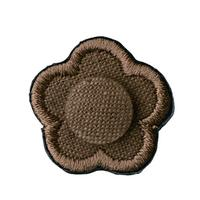 FT04080302 / EMBROIDERY BOUTONNIERE COTTON LINEN- drip coffee-