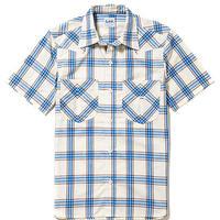 【Lee】MENS WESTERN CHECK SHIRTS(Blue)/メンズ ウエスタン チェック 半袖シャツ(ブルー)