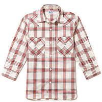 【Lee】MENS WESTERN CHECK SHIRTS(Red)/メンズウエスタンチェック七分袖シャツ(レッド)