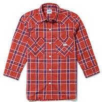 【Lee】MENS WESTERN CHECK SHIRTS(Red×Navy)/メンズウエスタンチェック七分袖シャツ(レッド×ネイビー)