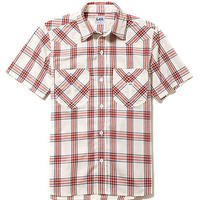 【Lee】MENS WESTERN CHECK SHIRTS(Red)/メンズウエスタンチェック半袖シャツ(レッド)