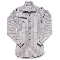 【ROCKY】LADIES' ストライプミリタリーシャツ(サンドグレー)