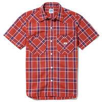 【Lee】MENS WESTERN CHECK SHIRTS(Red×Navy)/メンズウエスタンチェック半袖シャツ(レッド×ネイビー)