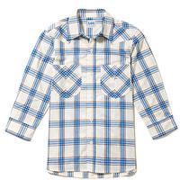 【Lee】MENS WESTERN CHECK SHIRTS(Blue)/メンズ ウエスタン チェック 七分袖シャツ(ブルー)