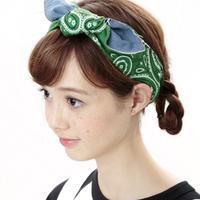 【Mr.PINK】DENIM HAIR BAND/BLUE・GREEN デニムヘアバンド/ブルー・グリーン
