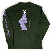 BUNNY LOOKING BACK - LONG SLEEVE - FOREST GREEN