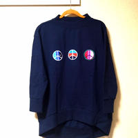 "18ss iSOLATED ARTS""Peace""Over Size Mock Sweat  - NAVY"