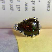 天然ボルダーオパールシルバーリング4.72ct☆13号 オーストラリア・クイーンズランド州ヤワー産の原石から磨いた1点もの