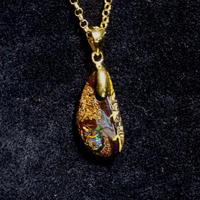 天然アイアンオパールゴールドネックレス7.95ct☆原石から磨いた1点もの