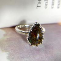 天然ボルダーオパール純銀リング3.16ct☆オーストラリア・クイーンズランド州ヤワー産の原石から磨いた1点もの