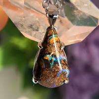 天然ボルダーオパールシルバーロングネックレス4.60ct☆ Queensland,Yowah産の原石から磨きました!