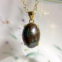 天然ボルダーオパールネックレス8.43ct☆ オーストラリア・ヤワー産の原石から磨きました