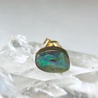天然ボルダーオパール14kgf片耳ピアス☆オーストラリア・ヤワー産原石から磨いた1点もの