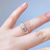 天然ハーキマーダイヤモンド原石シルバーリング0.46g|12号