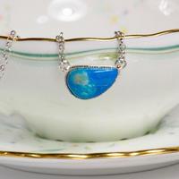 キレイな青い地球の色☆天然ブルーオパールシルバーネックレス3.14ct  ☆原石から磨きました