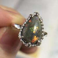 天然マトリックスオパール純銀リング3.19ct☆10〜12号オーストラリア・アンダムーカ産の原石から磨いた1点もの
