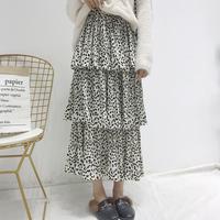レオパード柄3段フレアスカート